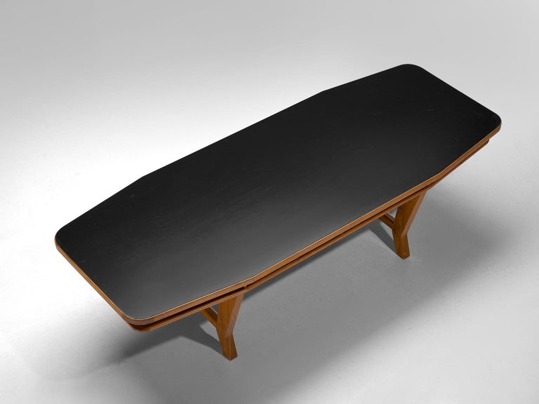 Conference Table with Black Top and Solid Walnut Frame For Sale 2