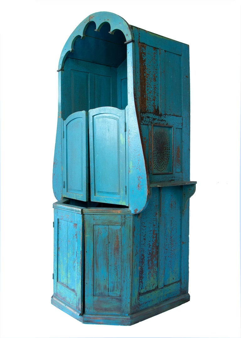 Pine Confessional Booth, Early 20th Century, Mexican For Sale