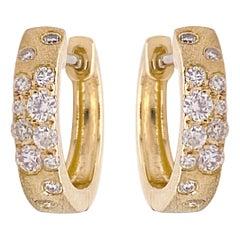 Confetti Hoop Earrings, Yellow Gold Galaxy Diamond Huggies, 32 Carat Diamonds