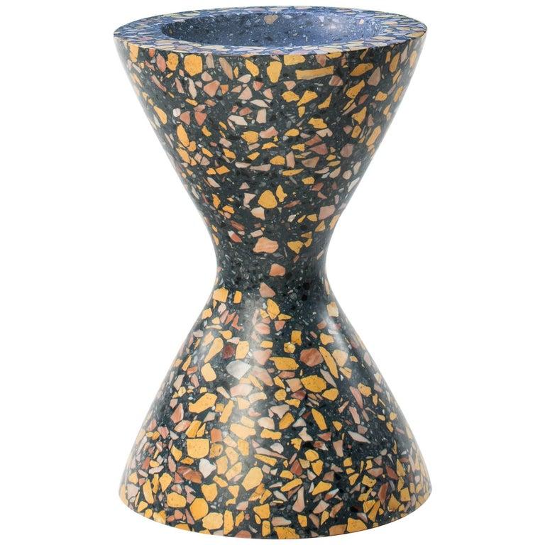Confetti Indoor/Outdoor Planter Medium in Midnight Terrazzo and Brass Details For Sale