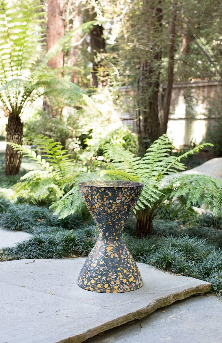 Modern Confetti Indoor Outdoor Side Table Medium in Midnight Terrazzo and Brass Details For Sale