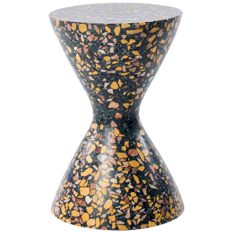Confetti Indoor Outdoor Side Table Medium in Midnight Terrazzo and Brass Details For Sale