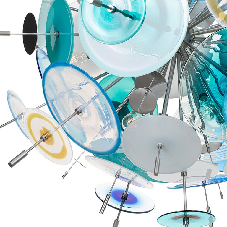 Modern Confetti Sapphire, Turquoise and Aqua Chandelier by Avram Rusu Studio For Sale