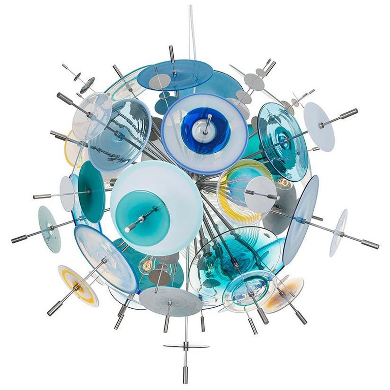 Confetti Sapphire, Turquoise and Aqua Chandelier by Avram Rusu Studio For Sale