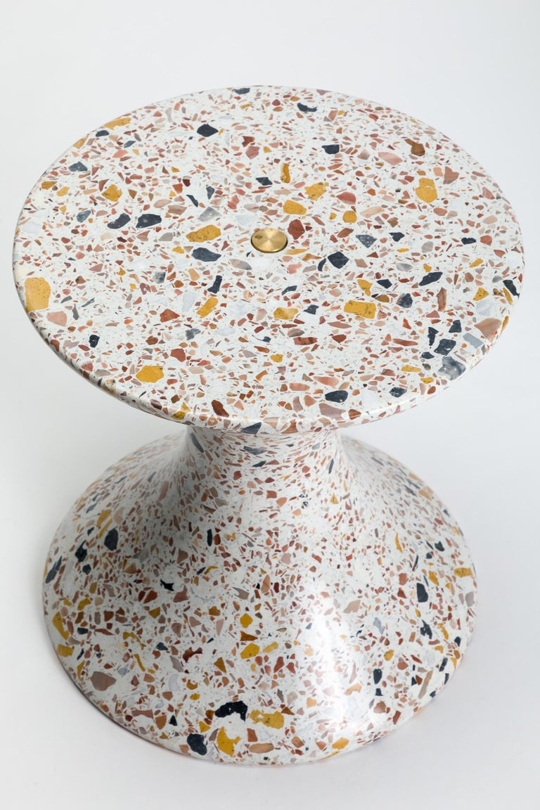 The Confetti renders the classic shapes of midcentury poolside furniture in an unexpected material. This product is suitable for indoor or outdoor use and is handmade in Los Angeles. The Confetti comes in an option of three real terrazzo mixes, has