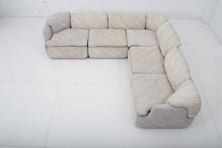 "Mid-Century Modern 'Confidential"" Sectional Sofa by Alberto Rosselli for Saporiti, Missoni Fabric For Sale"