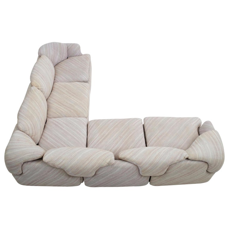 "'Confidential"" Sectional Sofa by Alberto Rosselli for Saporiti, Missoni Fabric For Sale"