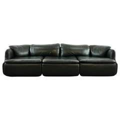 Confidential Sectional Sofa in Black Leather by Alberto Rosselli, Saporiti, 1972