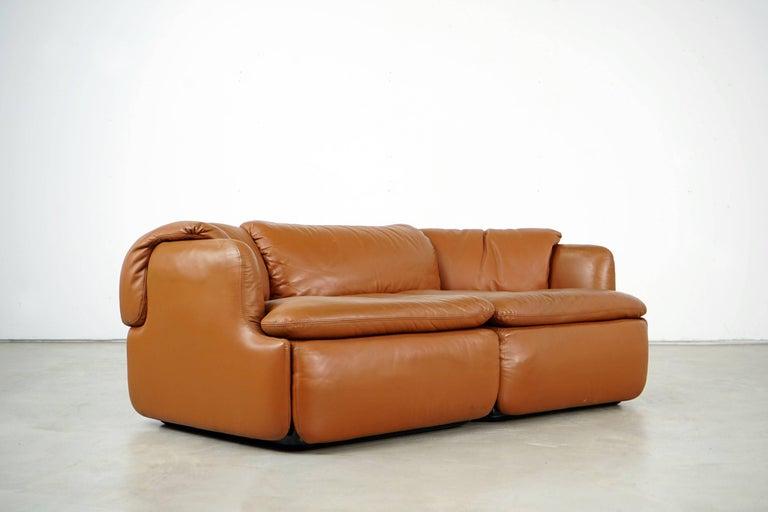 Leather Confidential Series Sofa by Alberto Rosselli for Saporiti Italia, 1970s