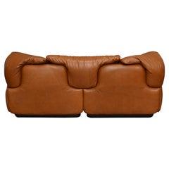 Confidential Sofa in Tan Leather by Alberto Roselli for Saporiti, Italy – 197
