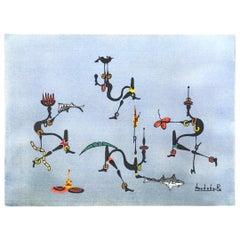 Congo Artist Rene Bokoko Imaginative & Vivid African Human Gouache #4