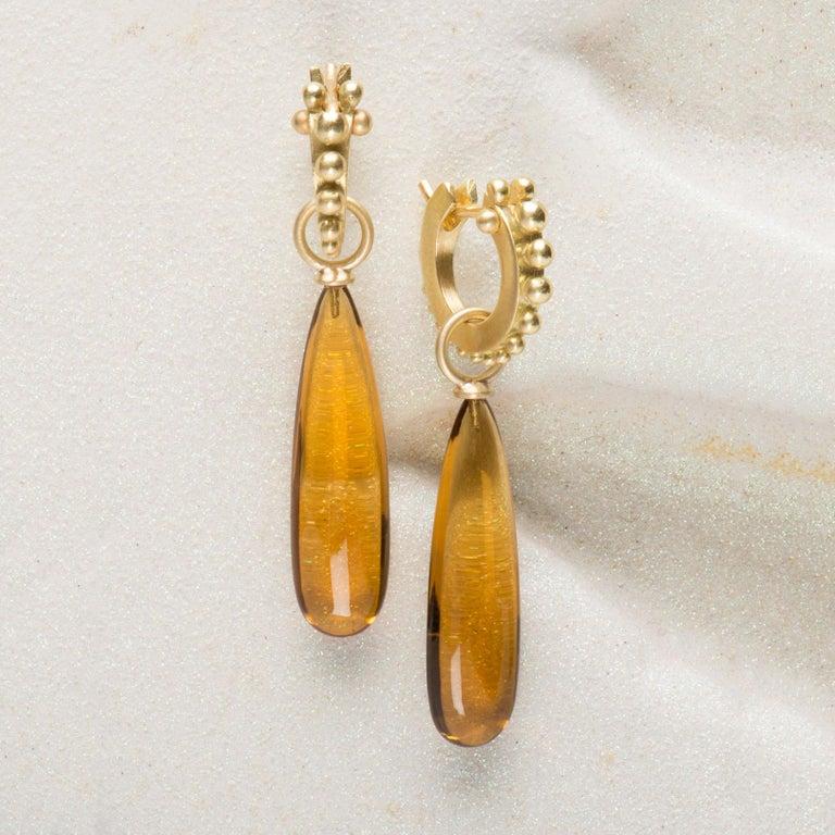 Congolese Citrine Wand Drop Earrings in 18 Karat Gold 1