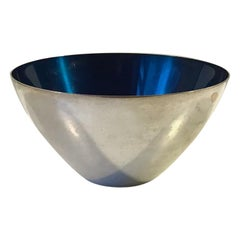 Conical Danish Modernist Bowl in Silver Plate & Blue Enamel by DGS, 1950s