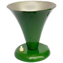 Conical Table Lamp in Green Lacquered Metal, Italy, 1950s