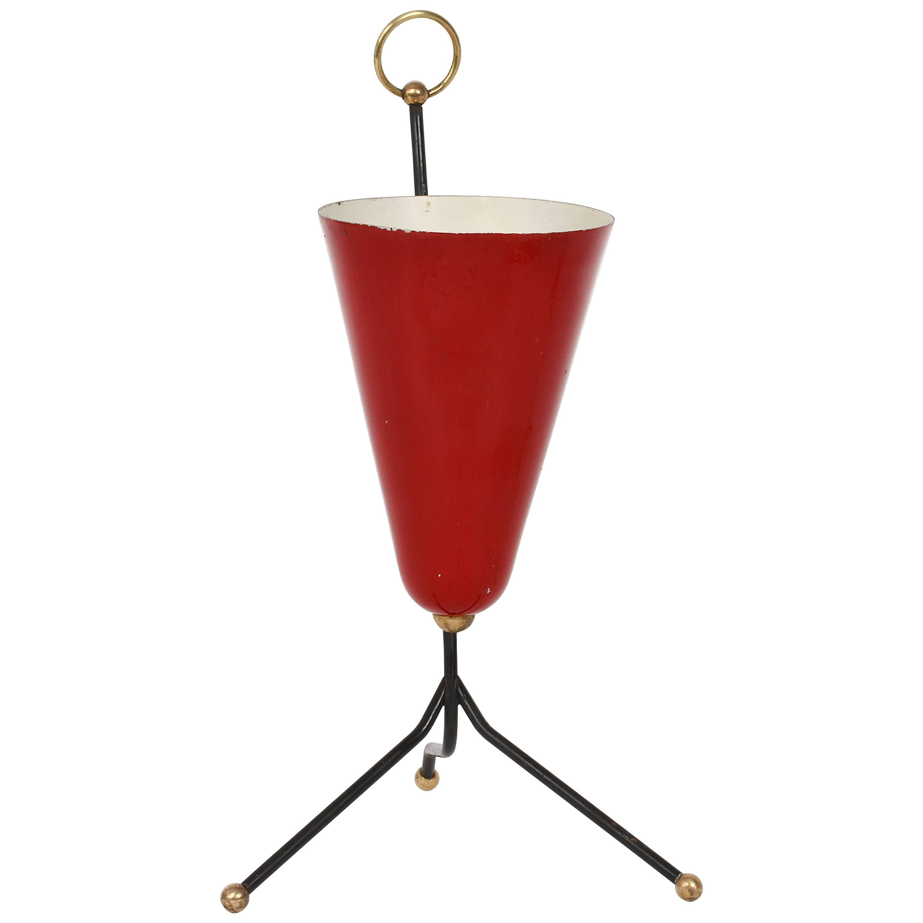 Conical Table Lamp in Red Lacquered Metal and Brass, Italy 1950s Italian Tripod