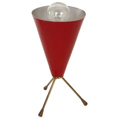 Conical Tripod Table Red Lamp in Brass and Lacquered Metal, Italy, 1950s