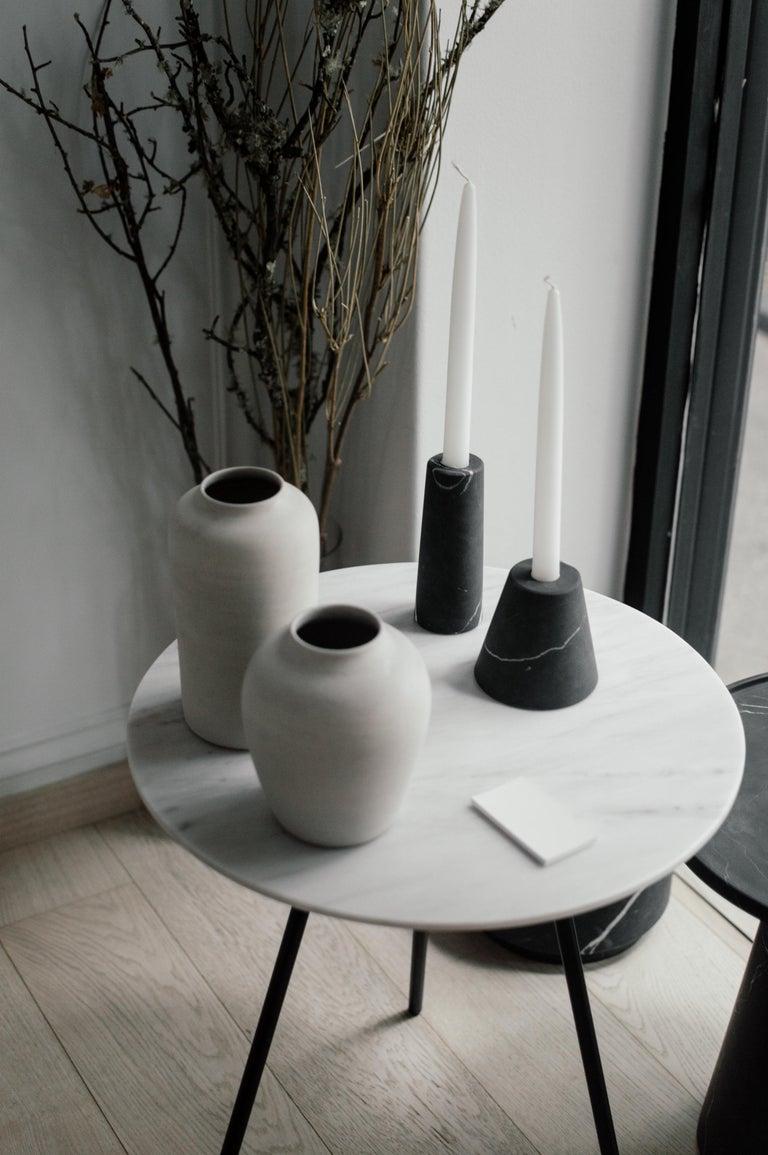 Modern Cónico Black Marble Carved Candleholder Set For Sale