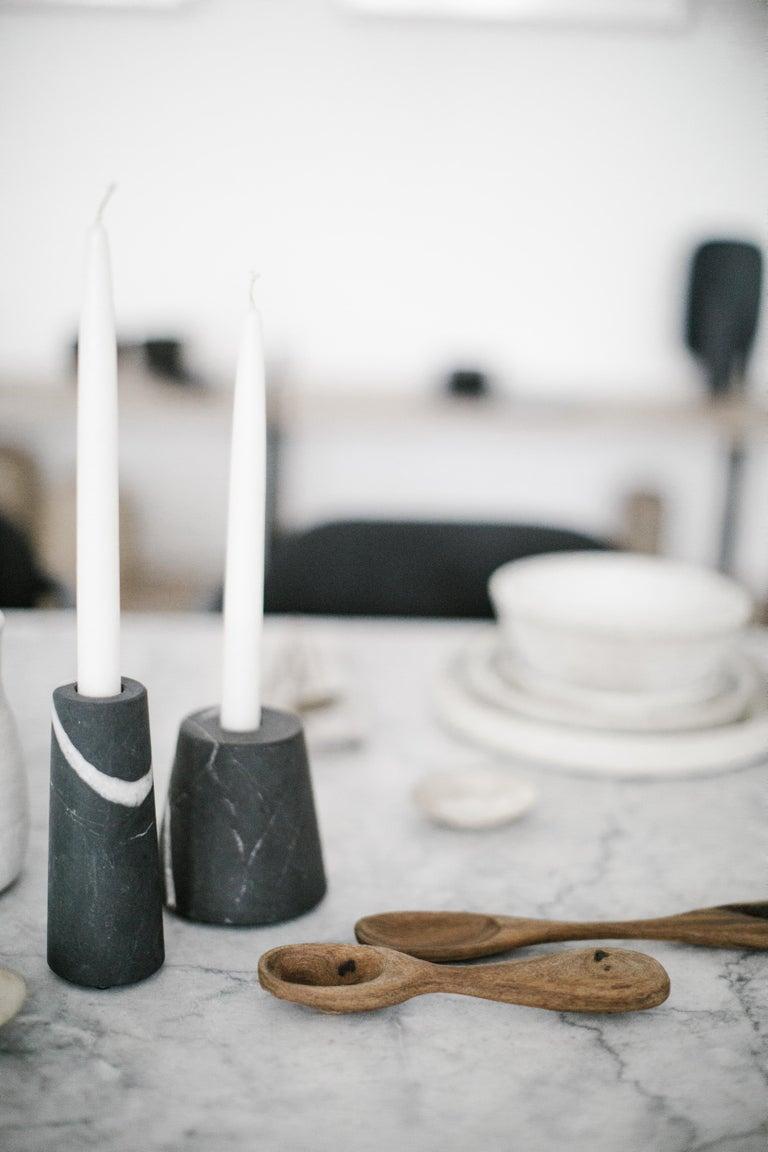 Hand-Crafted Cónico Black Marble Carved Candleholder Set For Sale