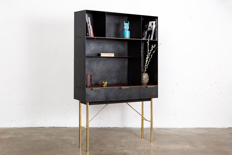 Modern Connect Bookcase or Shelf Customizable in Blackened Steel and Polished Bronze For Sale