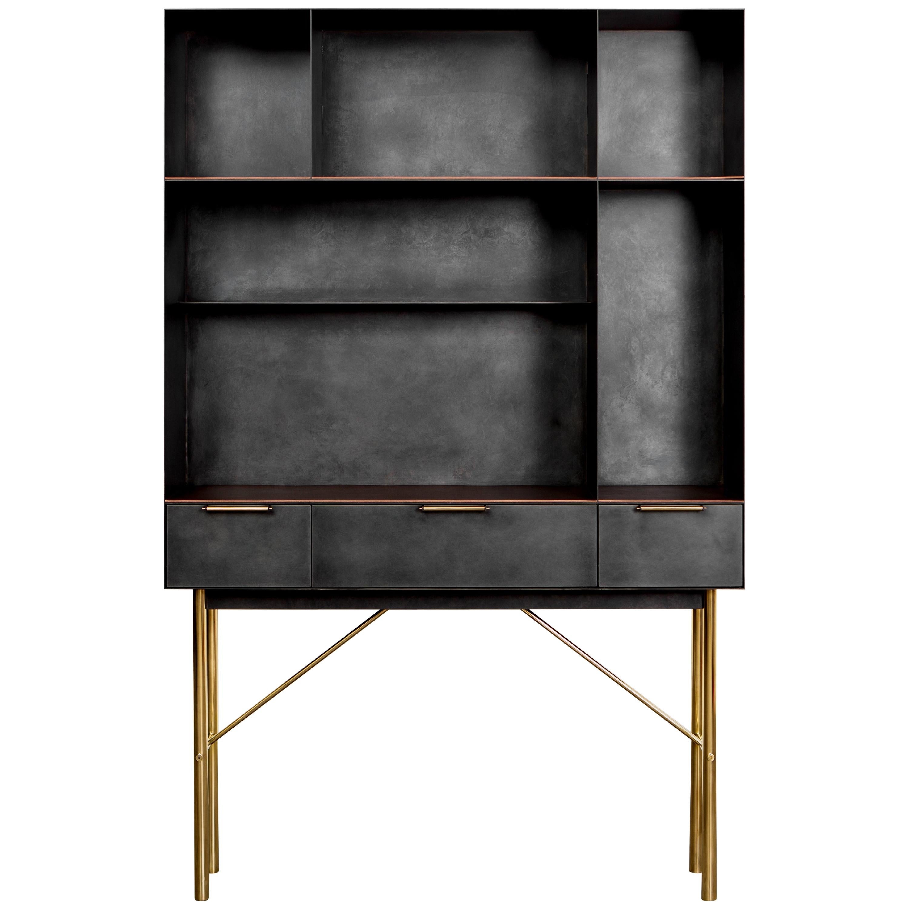 Connect Bookcase or Shelf Customizable in Blackened Steel and Polished Bronze