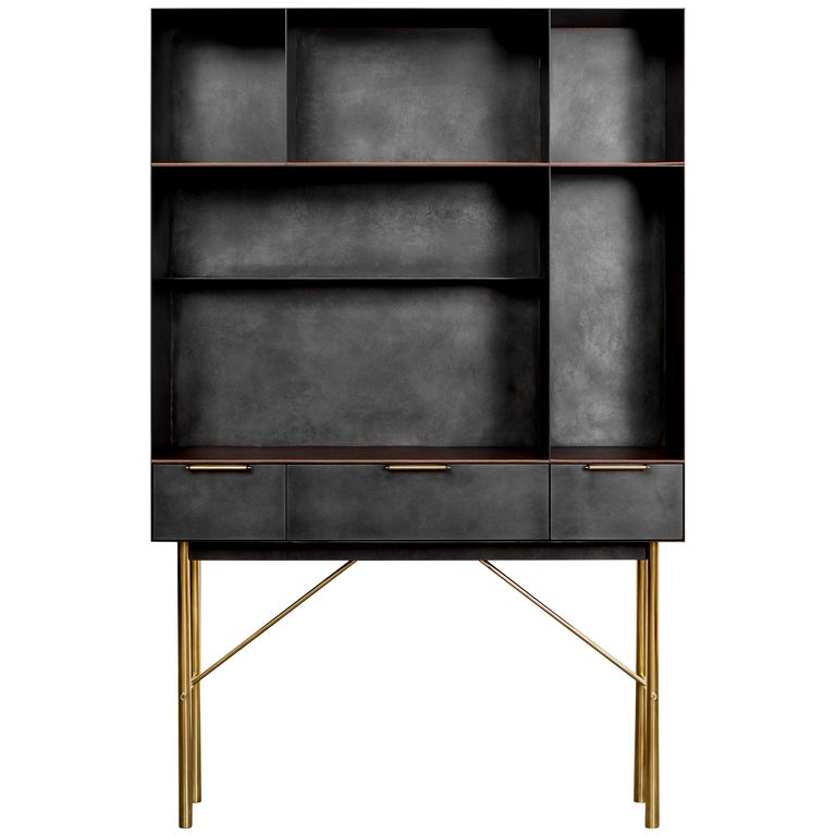 Connect Bookcase or Shelf Customizable in Blackened Steel and Polished Bronze For Sale
