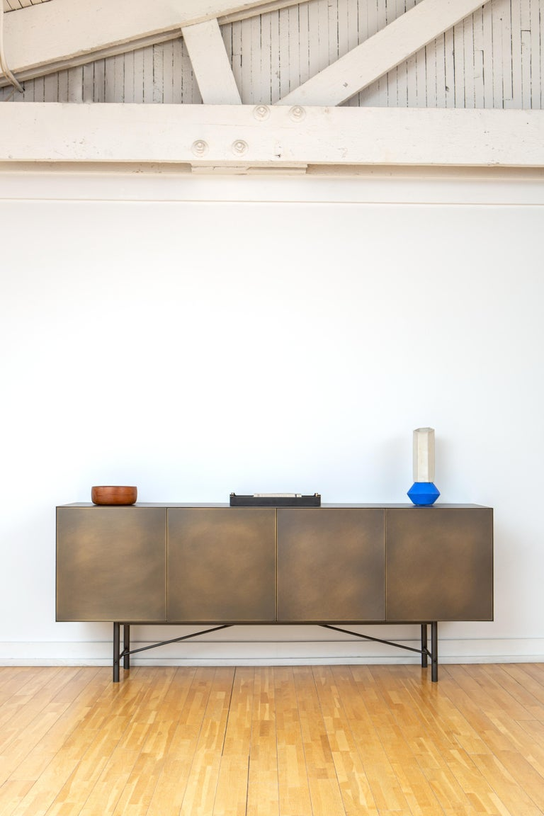 Modern Connect Credenza Cabinet or Sideboard Customizable in Steel and Aged Brass For Sale