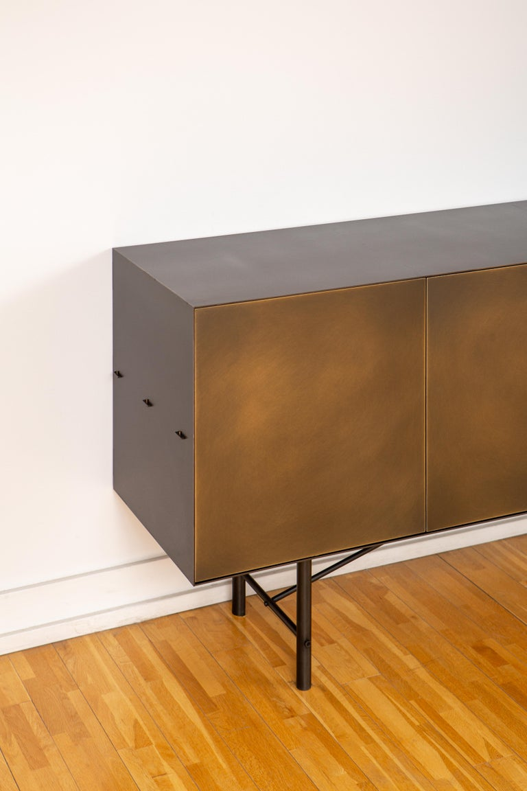 Canadian Connect Credenza Cabinet or Sideboard Customizable in Steel and Aged Brass For Sale