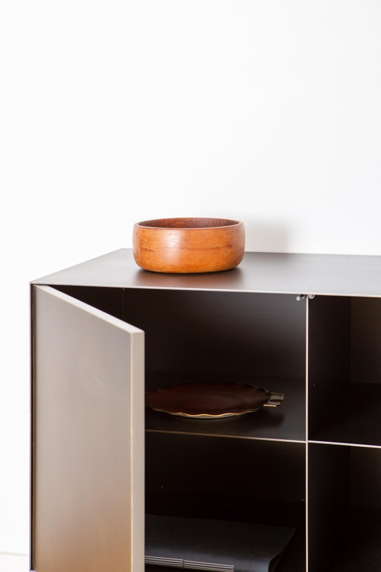 Blackened Connect Credenza Cabinet or Sideboard Customizable in Steel and Aged Brass For Sale