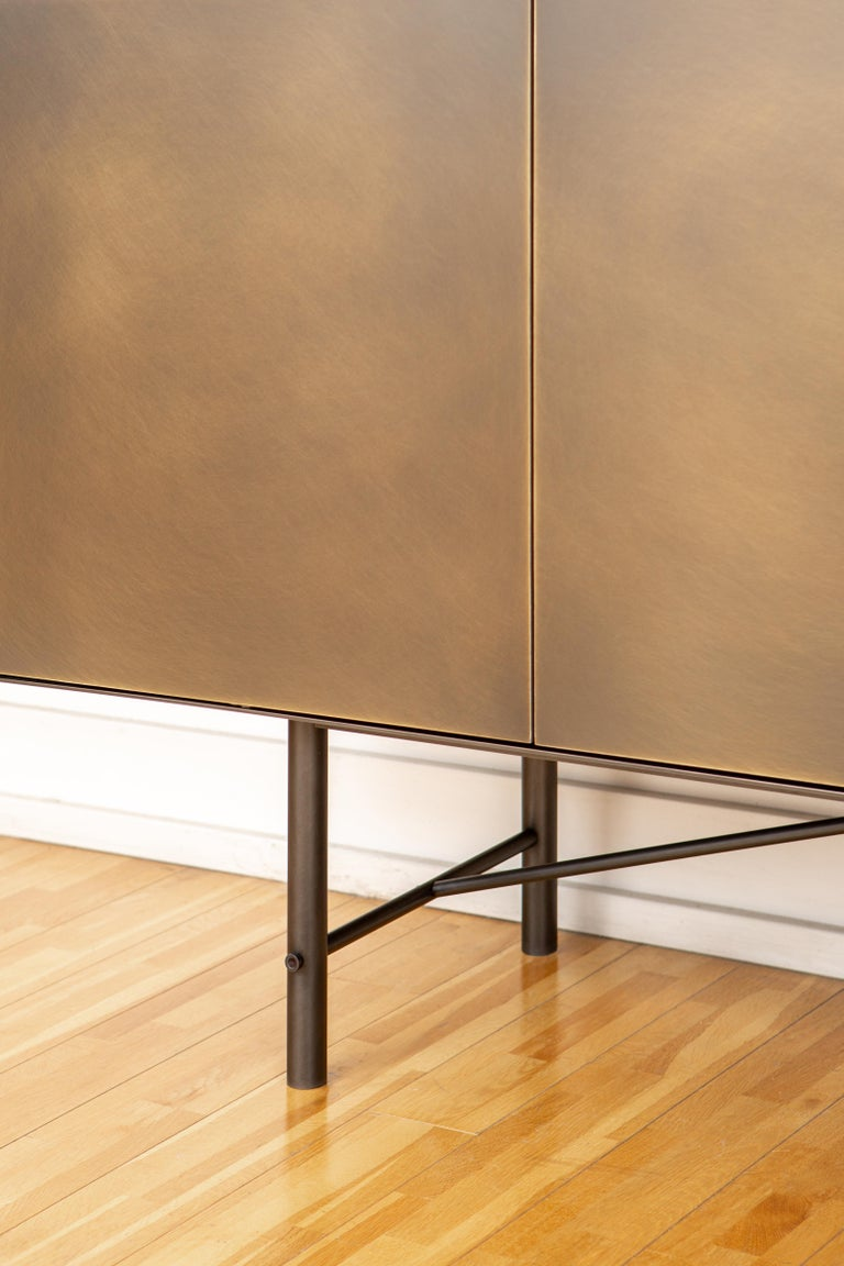 Connect Credenza Cabinet or Sideboard Customizable in Steel and Aged Brass In New Condition For Sale In Vancouver, BC