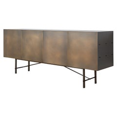 Connect Credenza Cabinet or Sideboard Customizable in Steel and Aged Brass