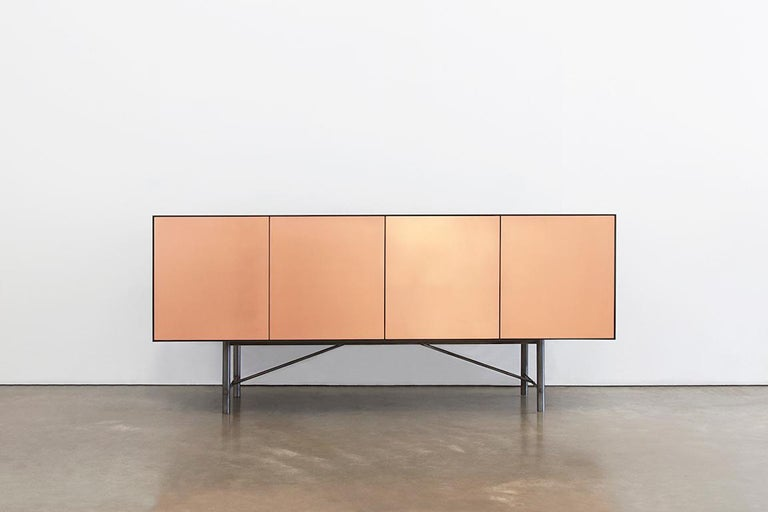 Connect Credenza Cabinet or Sideboard Customizable in Steel and Polished Bronze For Sale 2
