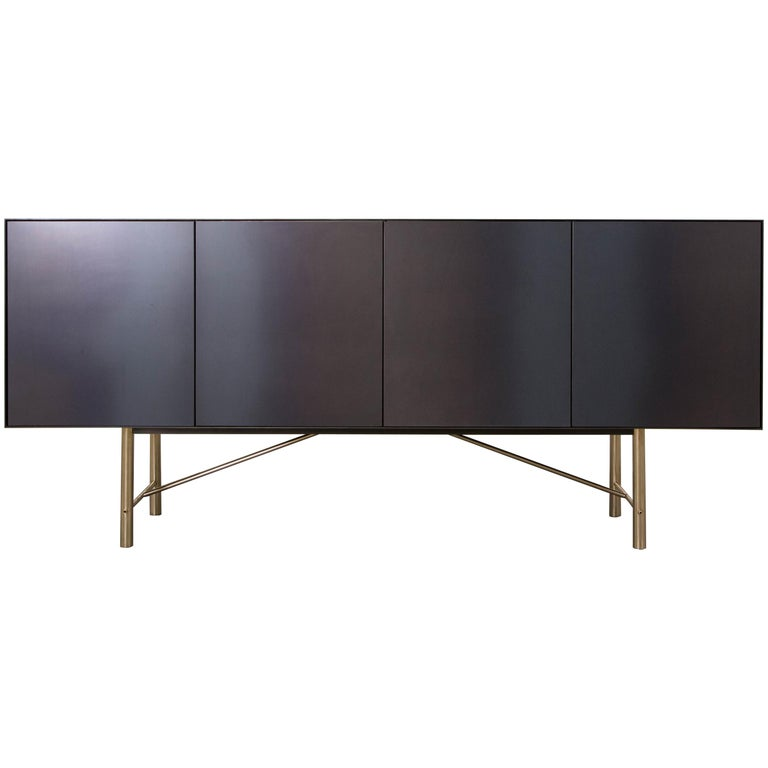 Connect Credenza Cabinet or Sideboard Customizable in Steel and Polished Bronze For Sale