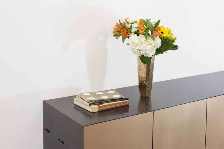 Modern Connect Credenza Floating Console Customizable in Steel and Satin Bronze For Sale