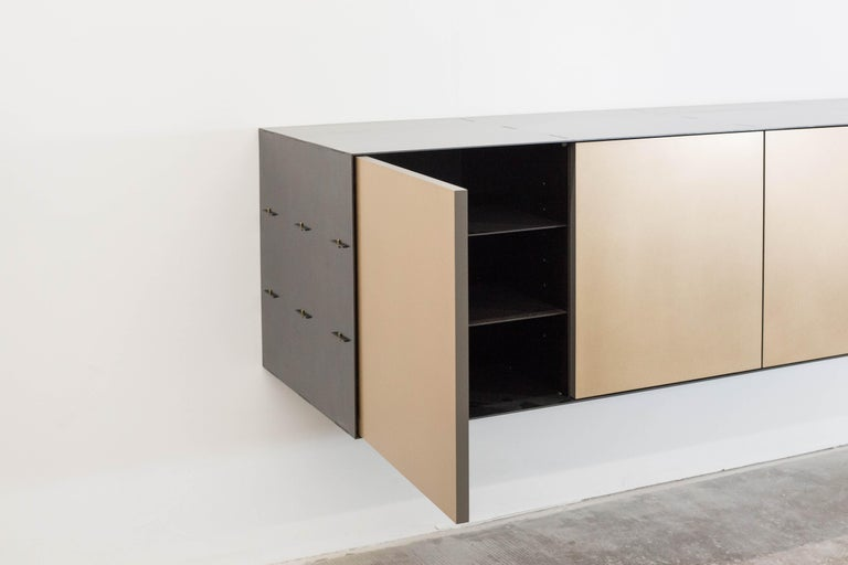 Canadian Connect Credenza Floating Console Customizable in Steel and Satin Bronze For Sale