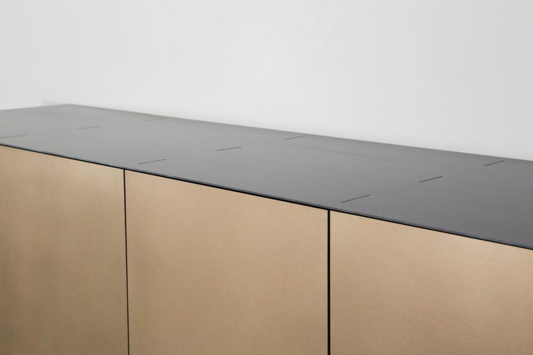 Connect Credenza Floating Console Customizable in Steel and Satin Bronze In New Condition For Sale In Vancouver, BC