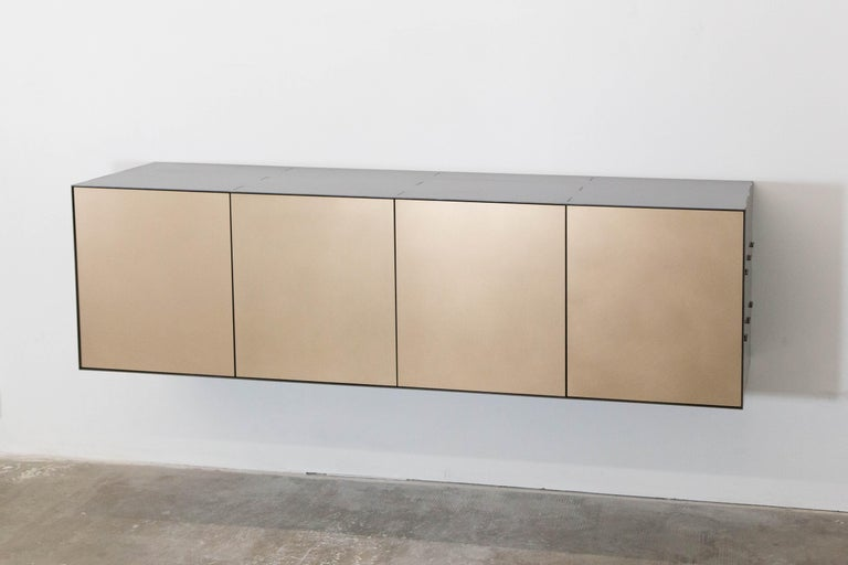 Connect Credenza Floating Console Customizable in Steel and Satin Bronze For Sale 1