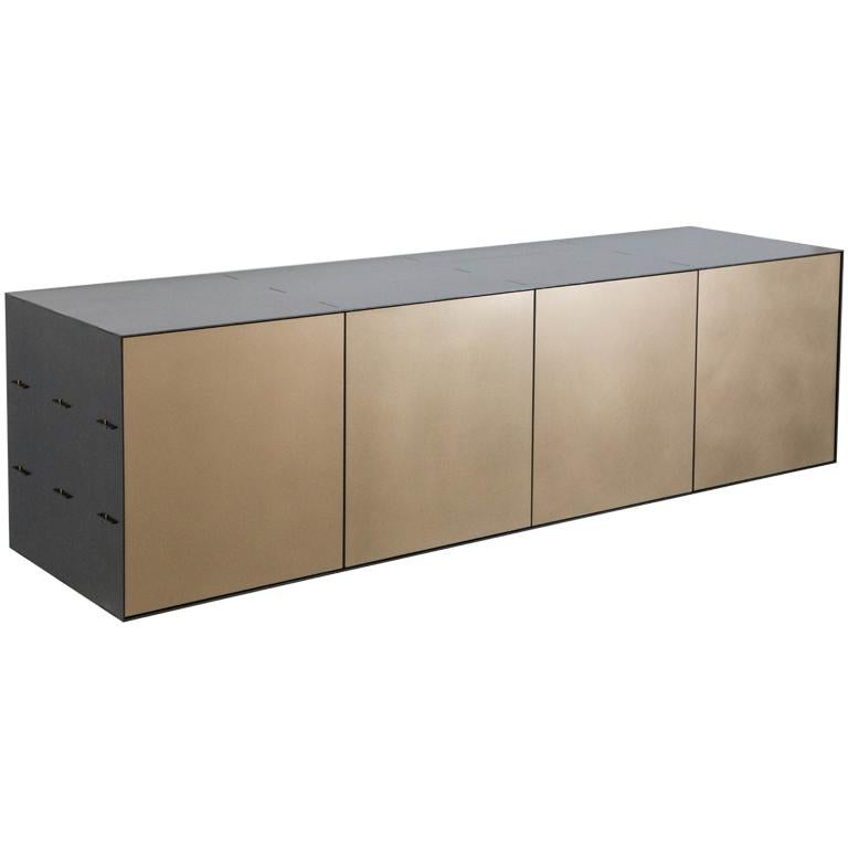 Connect Credenza Floating Console Customizable in Steel and Satin Bronze For Sale