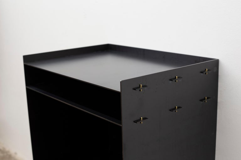 Modern Connect Floating Nightstand or Bed Table Customizable in Steel For Sale