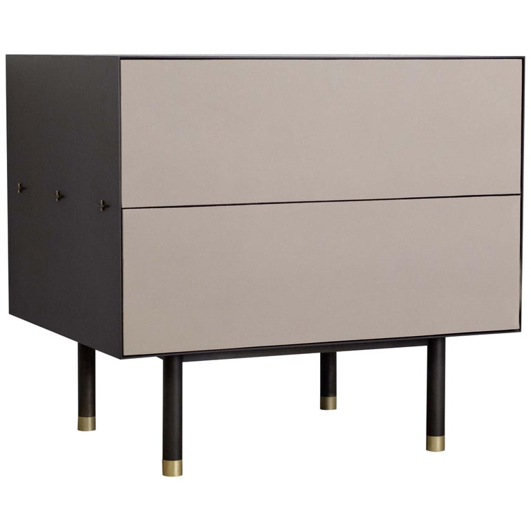 Connect Nightstand or Bed Table Customizable in Steel, Walnut and Leather For Sale