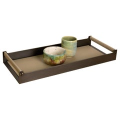Connect Table Tray or Serving Tray in Steel with Bronze Pins and Leather Handles