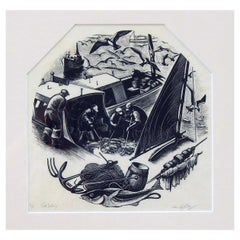 Connecticut Artist Clare Leighton Wood Engraving for Wedgewood, Cod Fishing