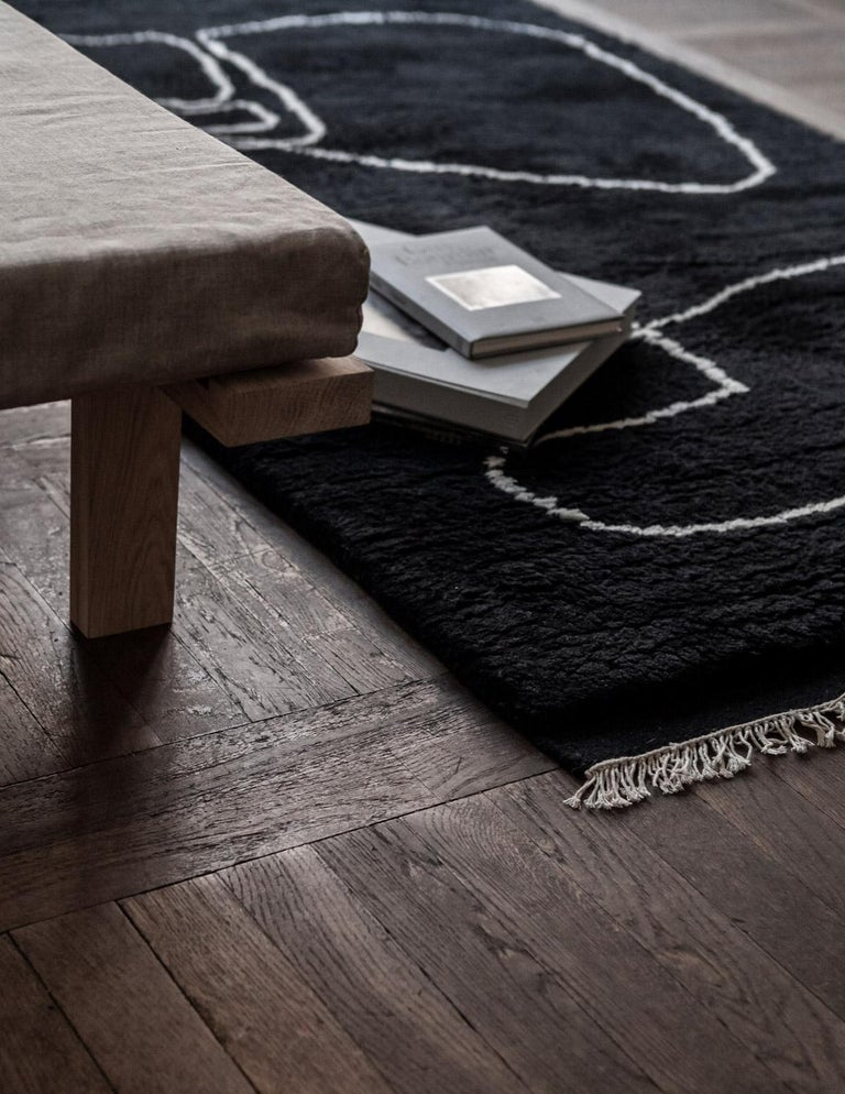 Modern Connection Black, Wool Shaggy Berber Rug in Scandinavian Design For Sale