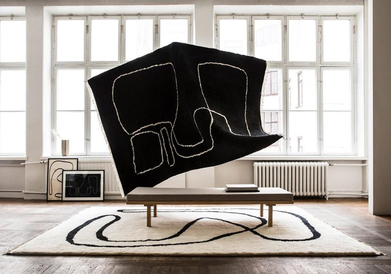 Hand-Knotted Connection Black, Wool Shaggy Berber Rug in Scandinavian Design For Sale