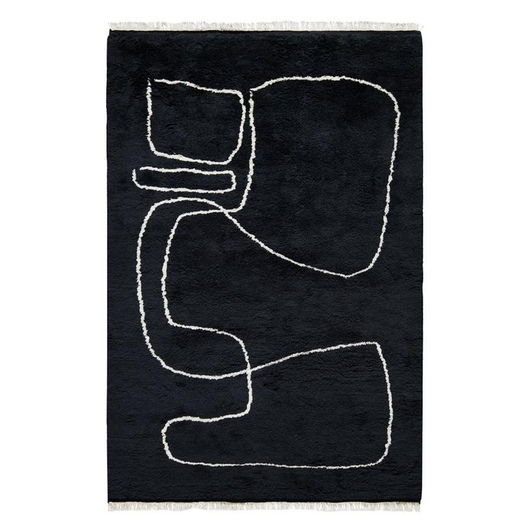 Connection Black, Wool Shaggy Berber Rug in Scandinavian Design For Sale