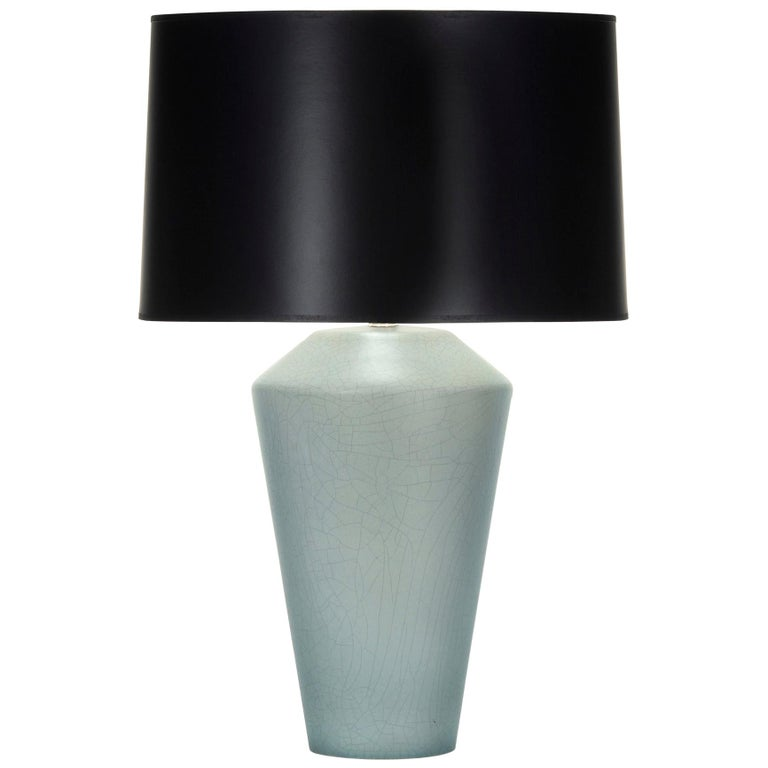 Connor Table Lamp in Gray and Blue Ceramic by CuratedKravet For Sale