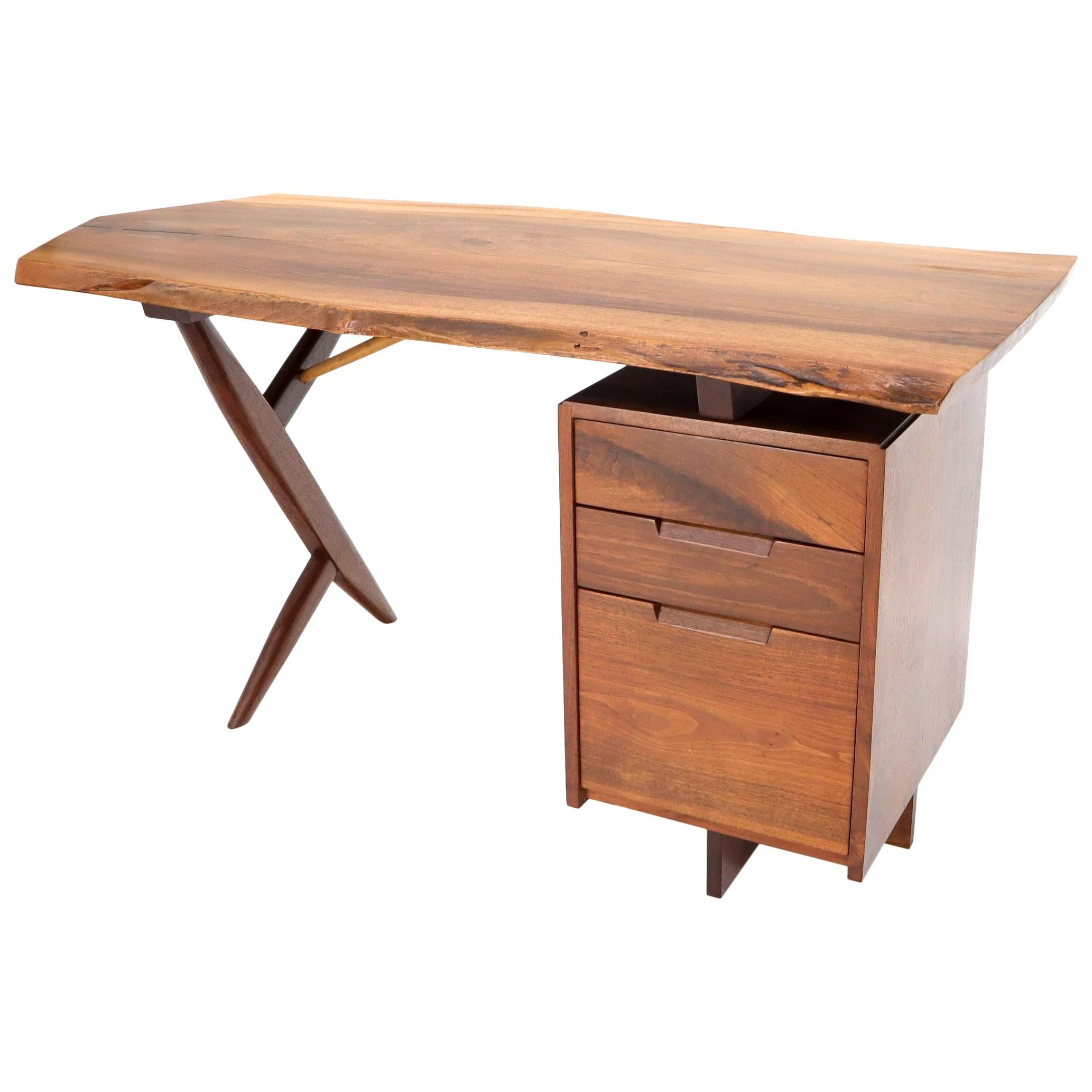 Conoid Cross Leg Desk in Walnut by George Nakashima Dated Documented, 1971