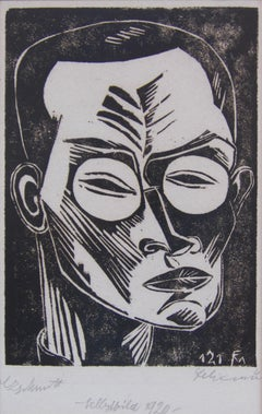 Conrad Felixmuller important German Expressionist woodcut - Self Portrait - 1920
