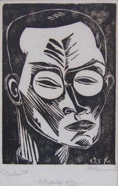 Conrad Felixmuller important German Expressionist woodcut - Self Portrait - 1920