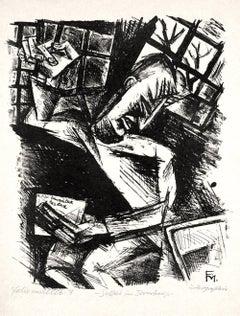 Soldat im Irrenhause II  - Original Lithograph by Conrad Felixmüller  - 1918