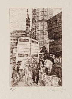 The City - Original Etching by Conrad Felixmüller - 1971